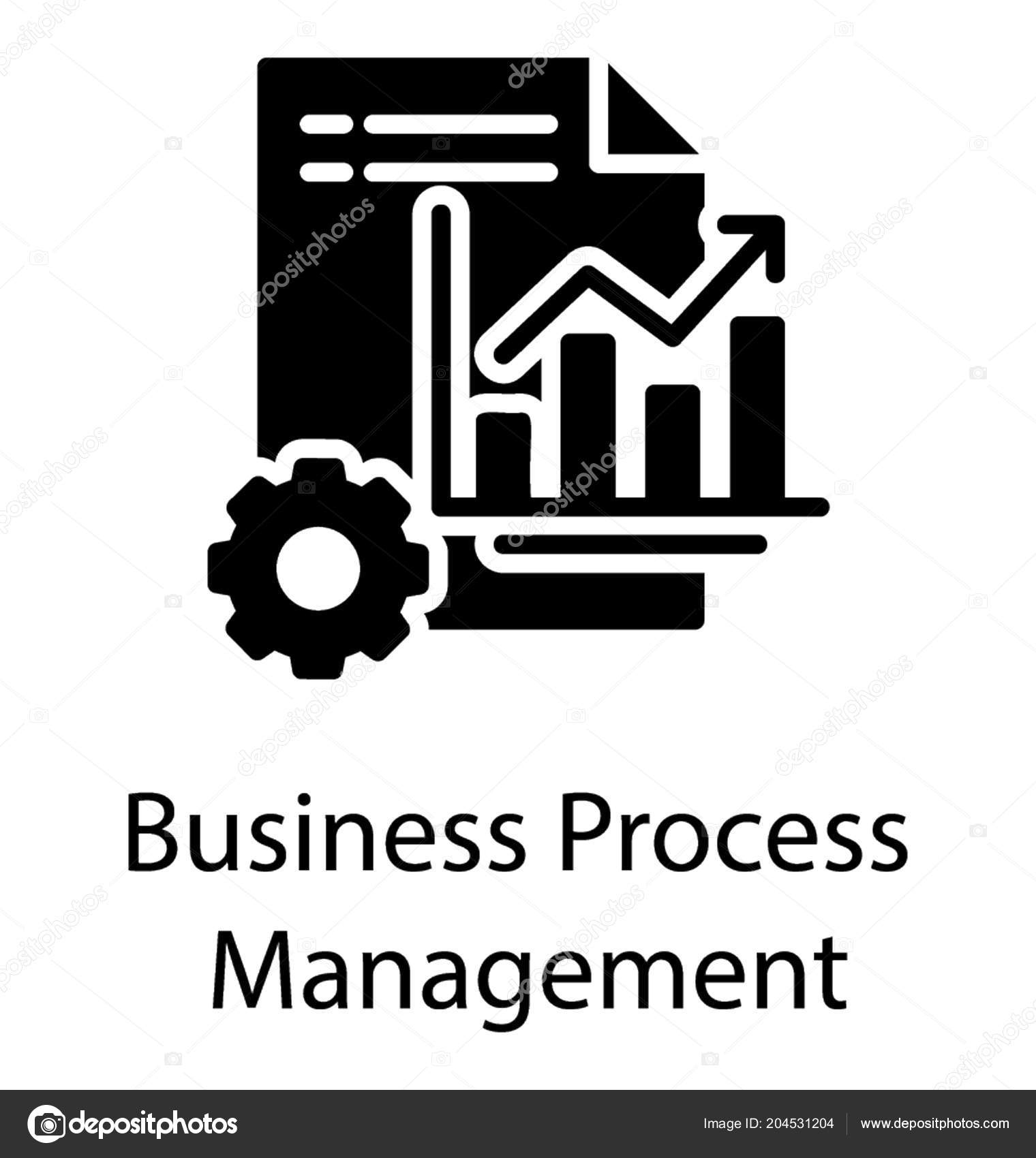 Business Process Management Icon Denoted Using Bar Graph