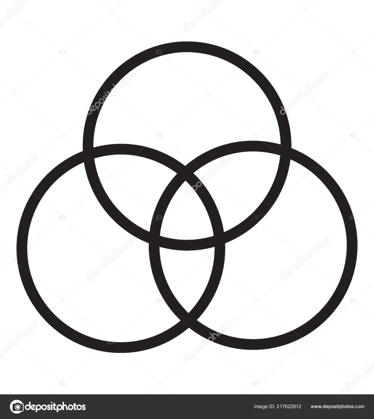 Tres Circulos Entrelazados Los Circulos Superponen Vector
