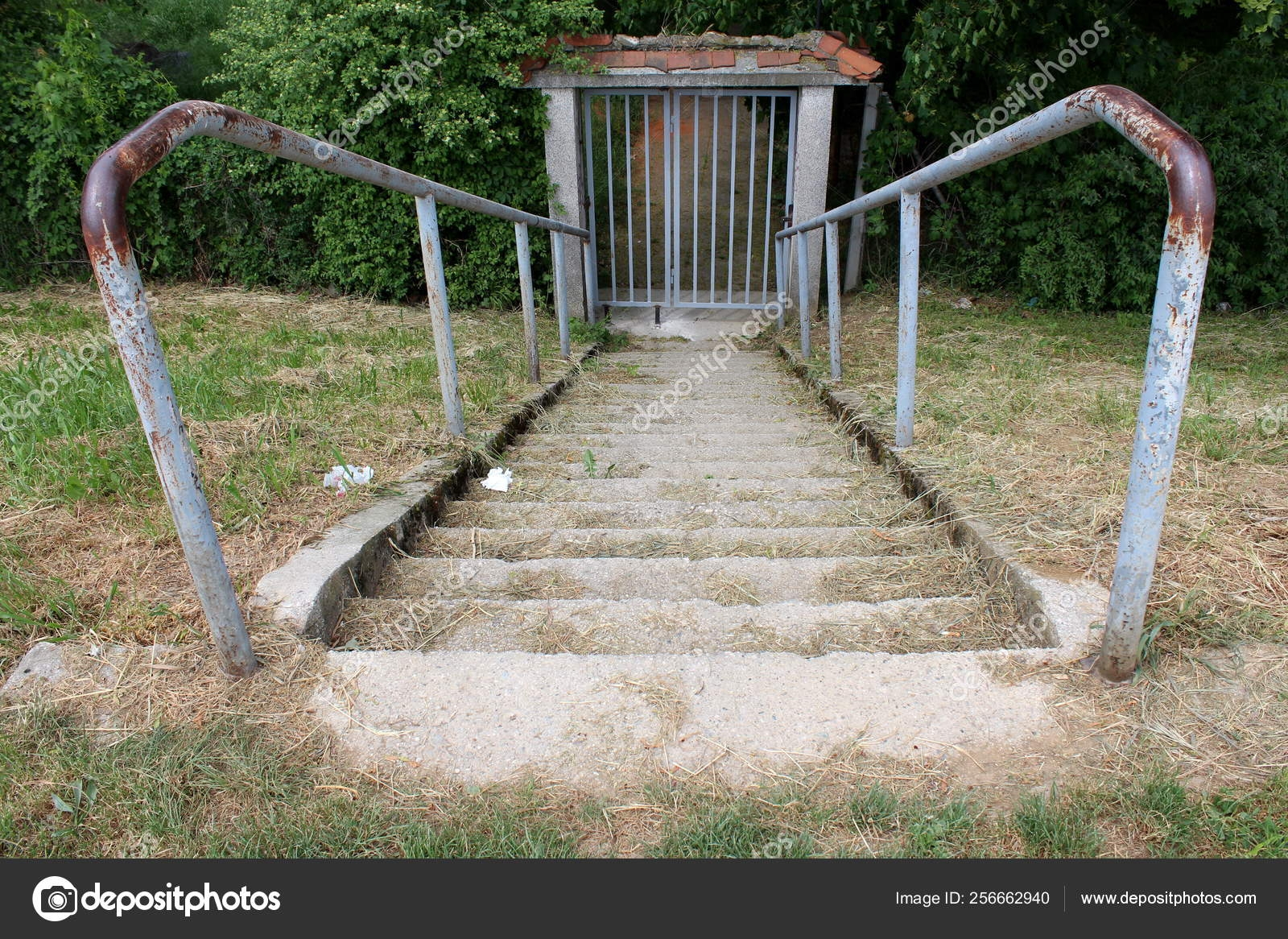 Concrete Steps Covered Dry Grass Partially Rusted Grey Metal   Metal Handrails For Concrete Steps   Wrought Iron   Easy   Patio   Safety   Different Style