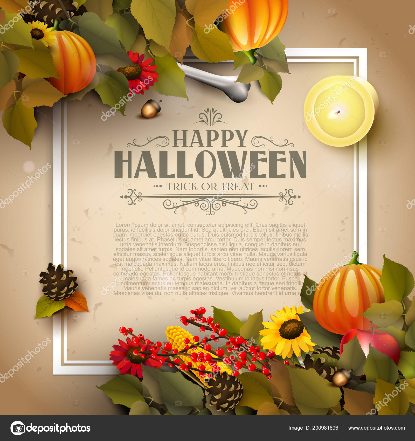 Halloween Template Pumpkins Other Traditional Halloween Decorations Paper  Background Place — Stock Vector