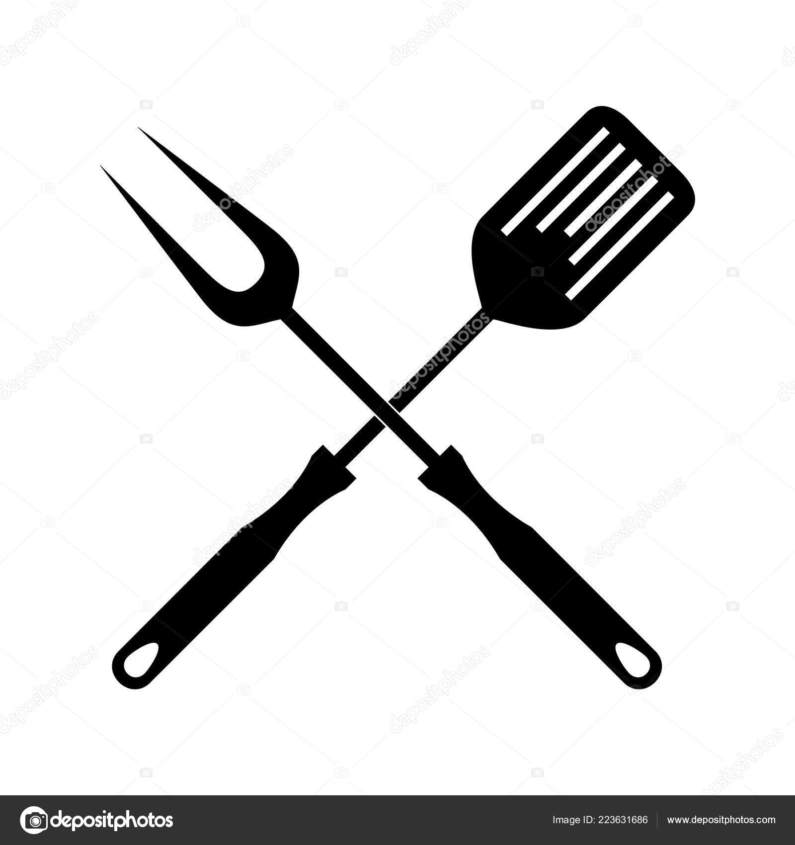 Bbq Grill Tools Icon Flat Design Sign Crossed Barbecue