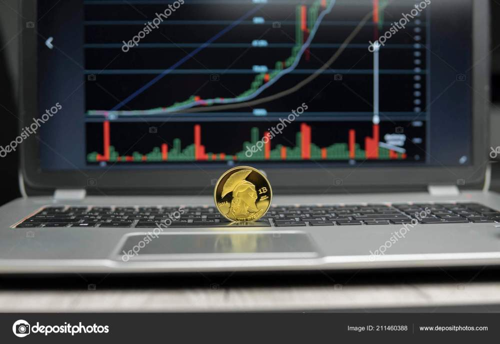 medium resolution of golden titan bitcoin coin on a silver keyboard of laptop and diagram chart graph on a