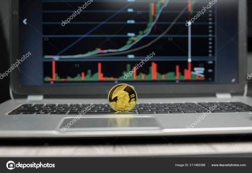 small resolution of golden titan bitcoin coin on a silver keyboard of laptop and diagram chart graph on a