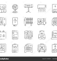 hvac charcoal draw line icons vector set stock vector [ 1600 x 1380 Pixel ]