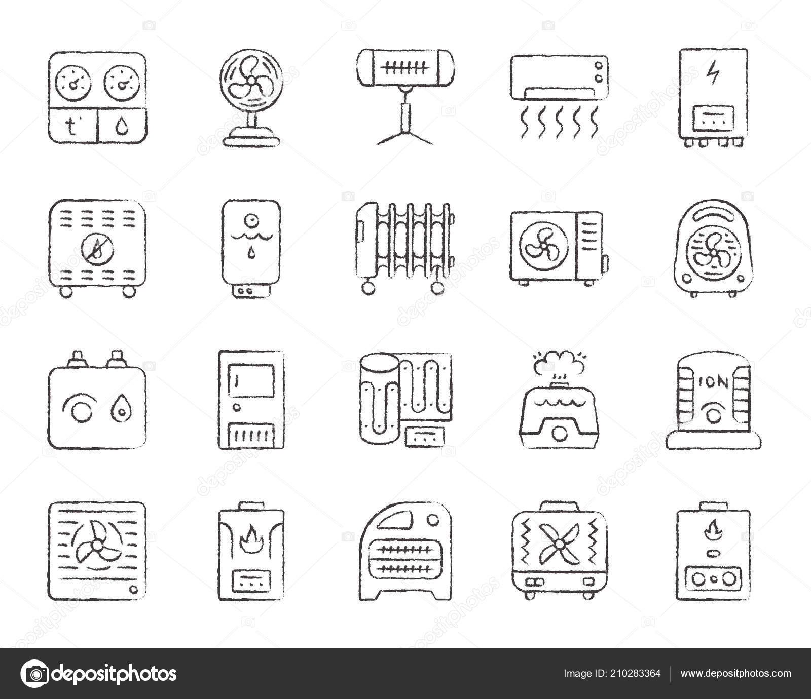 hight resolution of hvac charcoal draw line icons vector set stock vector