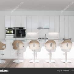 Islands Kitchen Franke Sinks Catalogue 空荡荡的干净的白色厨房与岛屿和酒吧3d 图库照片 C Viz Arch 227682874