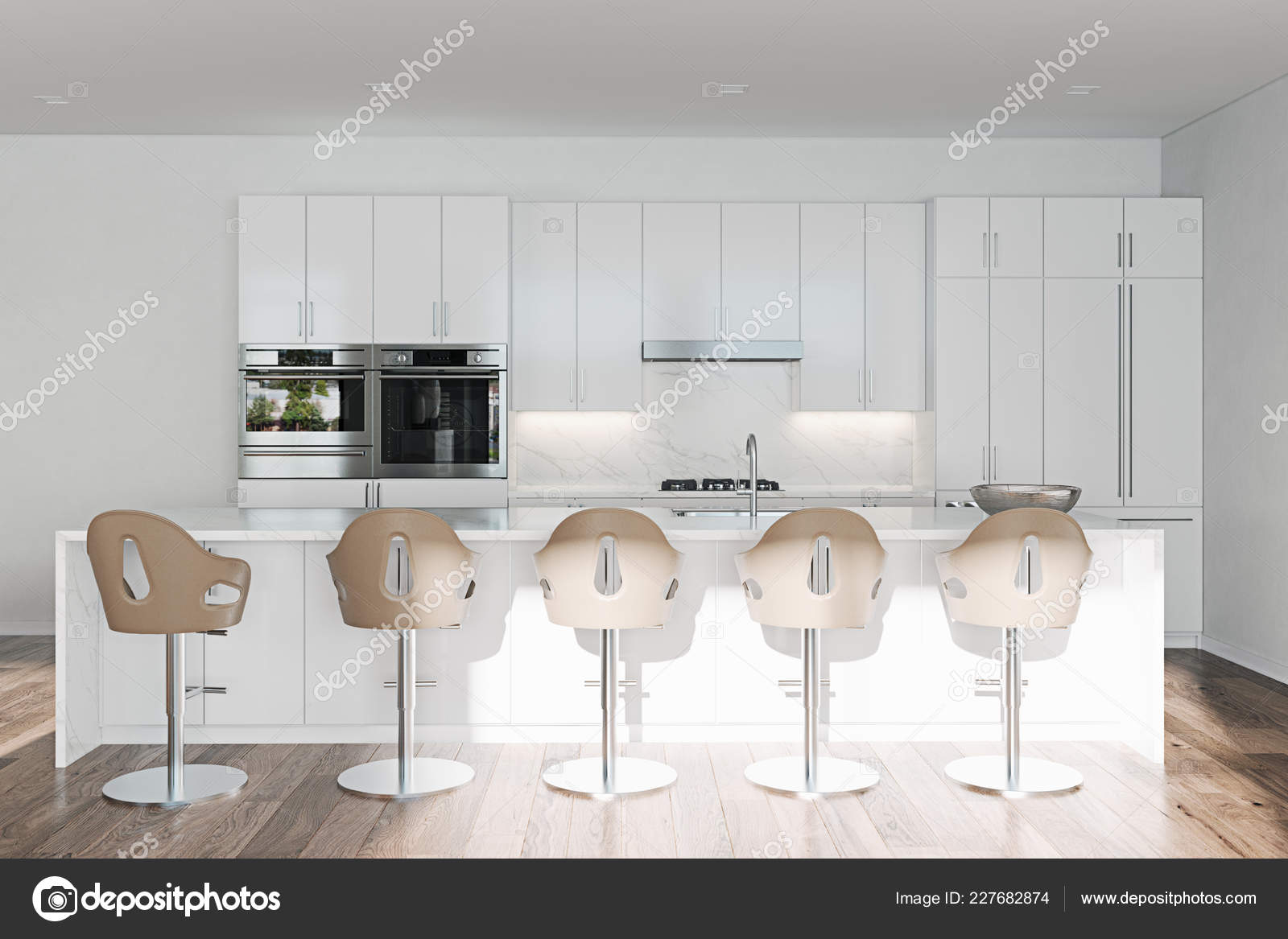 islands for the kitchen picture 空荡荡的干净的白色厨房与岛屿和酒吧3d 图库照片 c viz arch 227682874