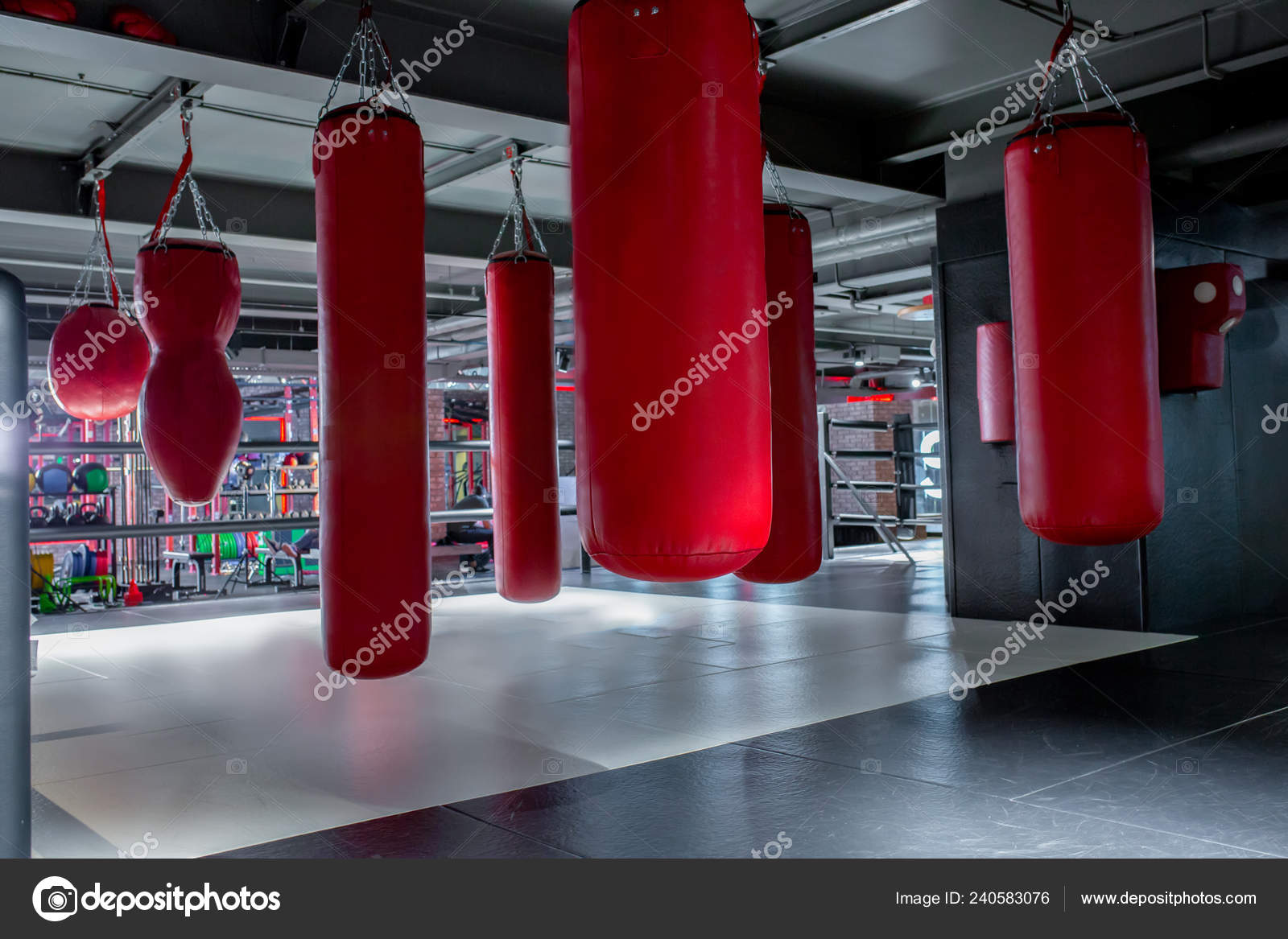 red punching bags with