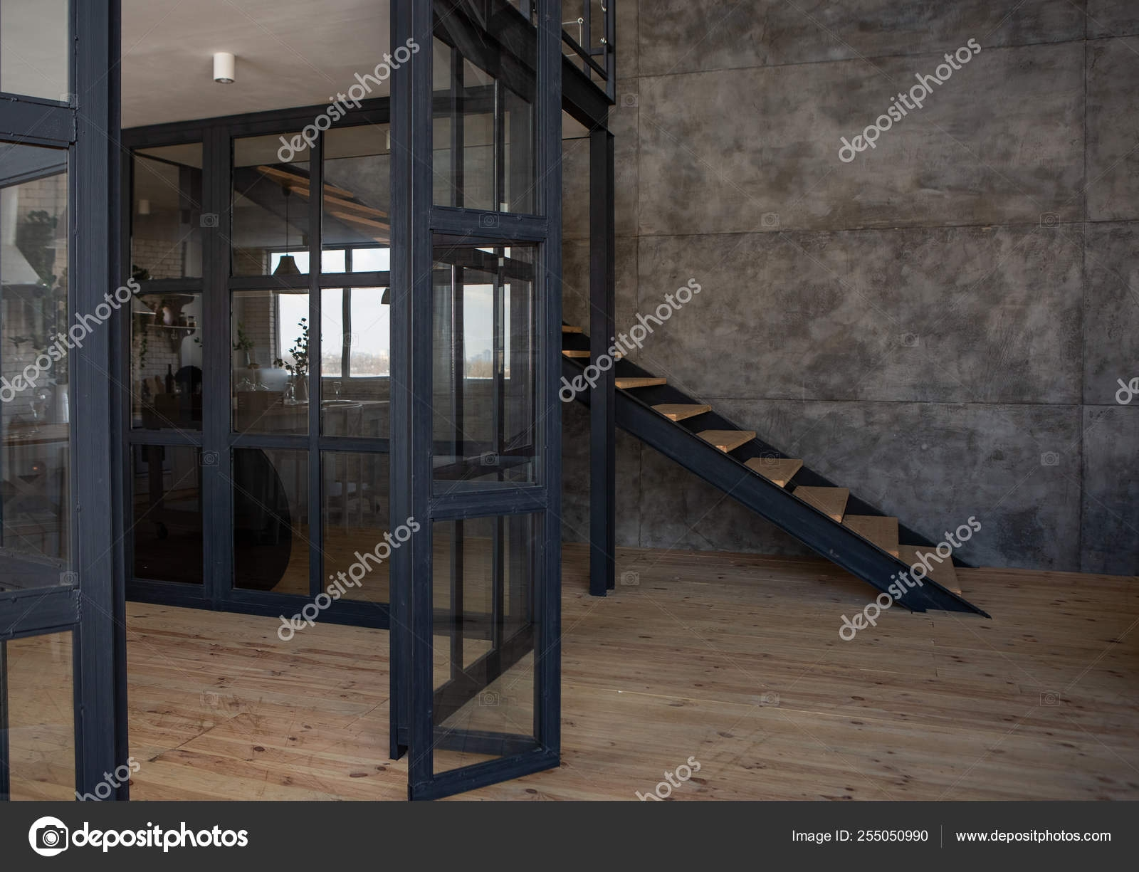 Interior Design Loft Style Metal Wood Staircase — Stock Photo   Steel And Wood Staircase   Steel Cable   Construction   Beautiful   New Model   Detail