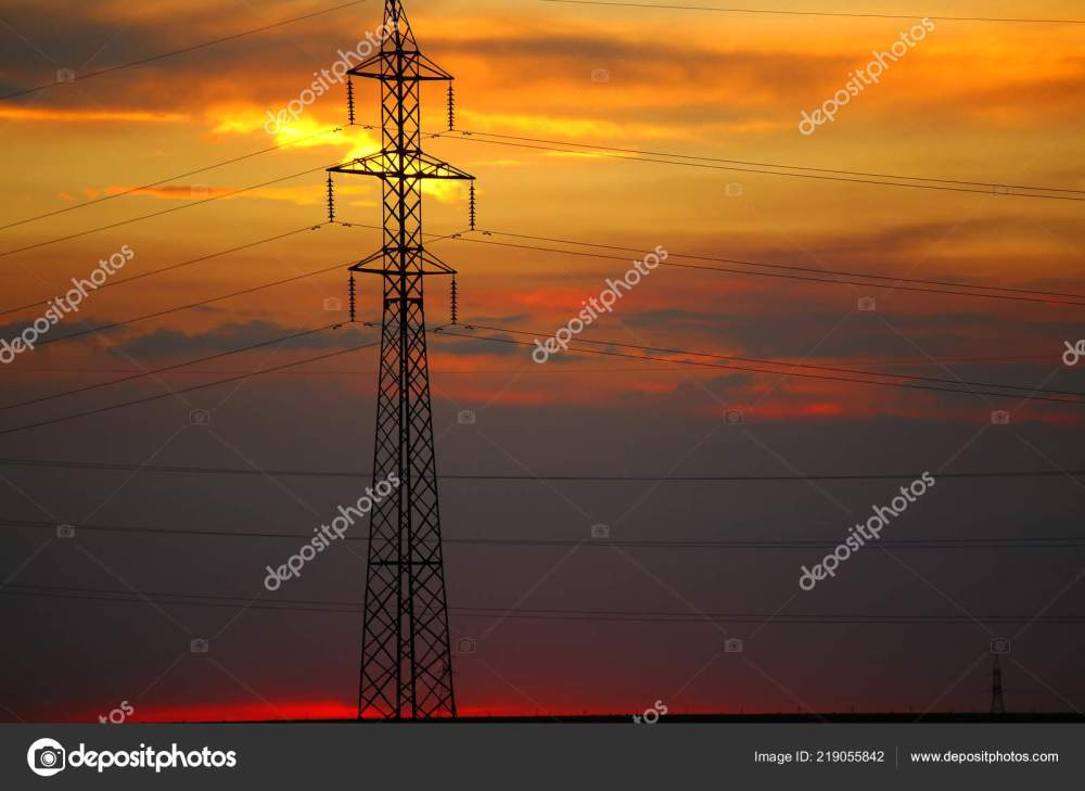 medium resolution of old transformer pole wires beautiful sunset stock photo