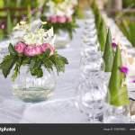 Circle Shape Glass Vase Pink Flowers Green Leave Bouquet Decoration Stock Photo C Mrseksan 209975692