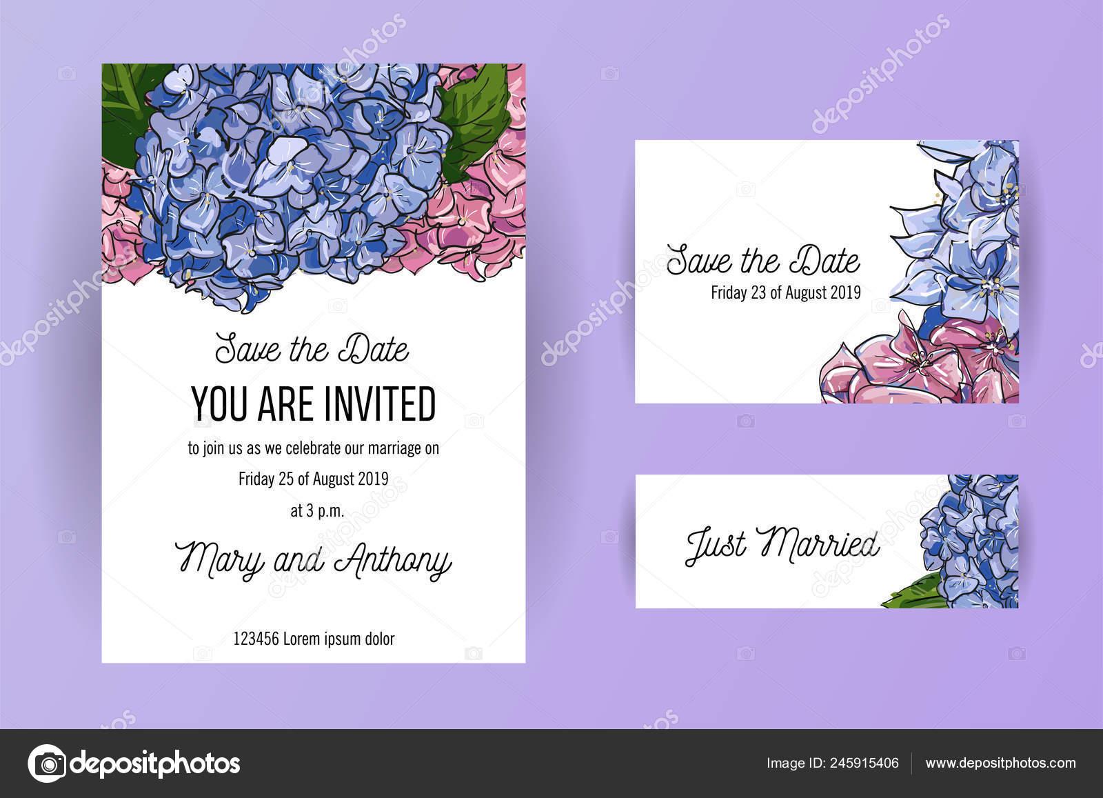 set wedding invitation card blue pink flowers hydrangea card design vector image by c lanasham vector stock 245915406