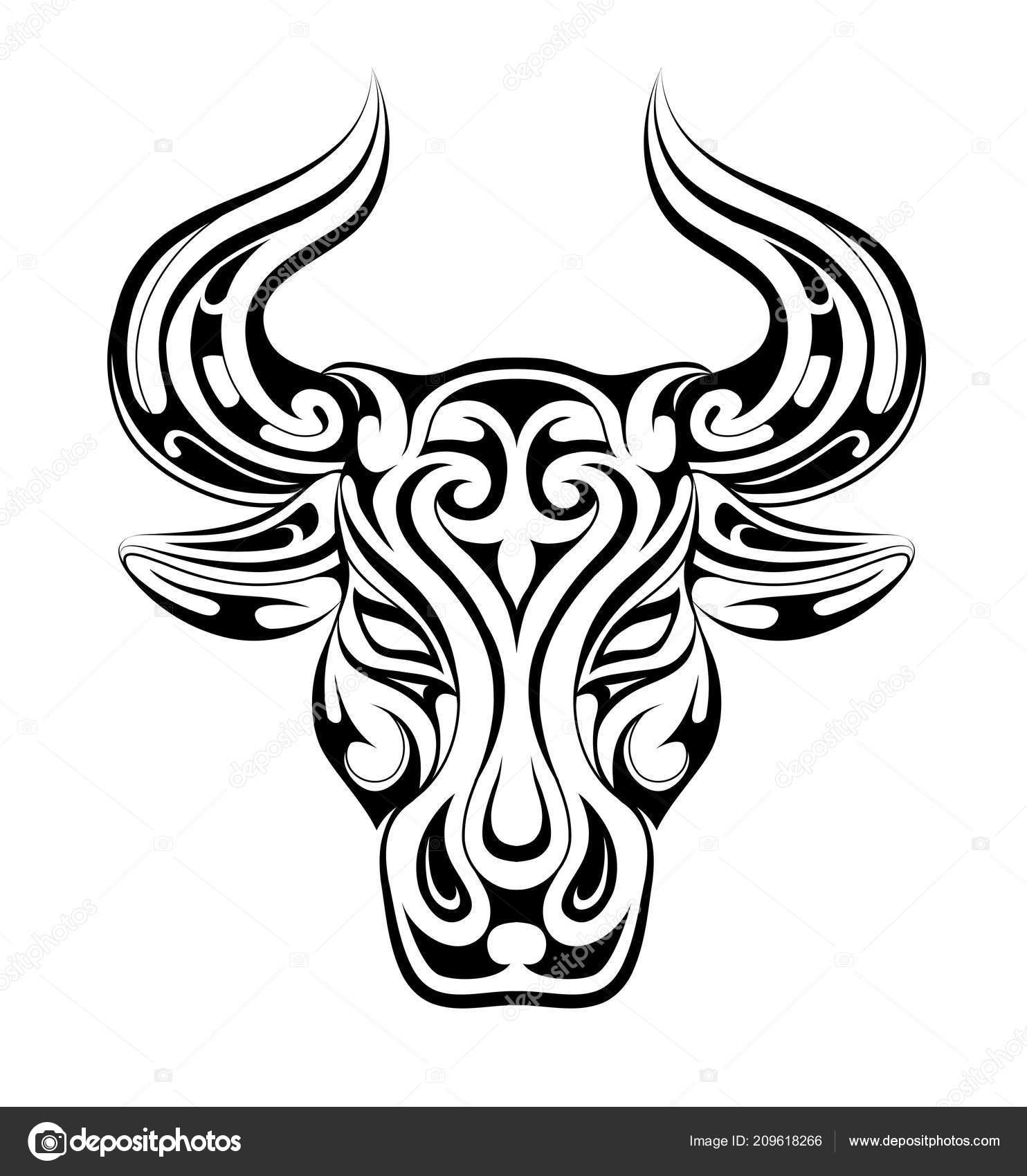 Tatuaje De Tauro Como Símbolo Del Zodiaco Vector De Stock Akvlv