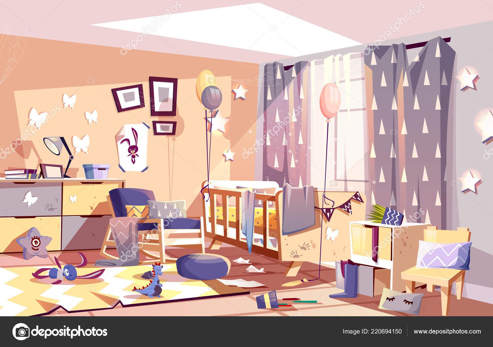 Vetor de desenho de interiores ensolarado quarto criana