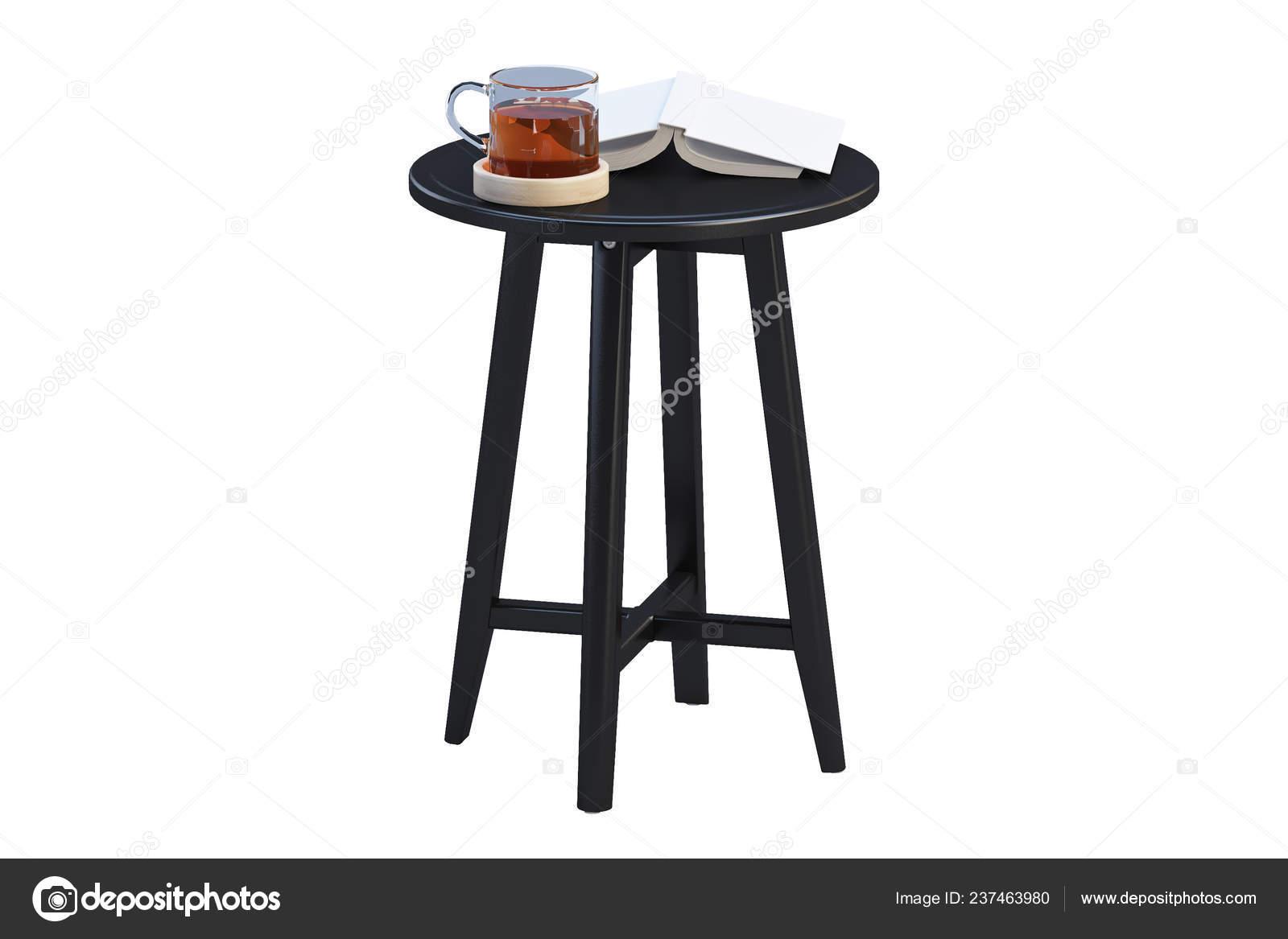 Modern Black Coffee Table Books Thin Legs White Background Render Stock Photo C 3dmitruk 237463980