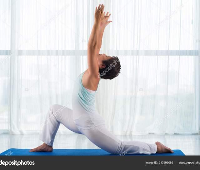 Japanese Mature Woman Showing Asana Good Stretch Stock Photo