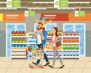 ✅ Family Shopping Cartoon Vector Illustration with Father Mother and Child Walking with Shopping Cart Full of Goods near Shelves with Food in Supermarket Parents with Son Buying Groceries Concept premium vector