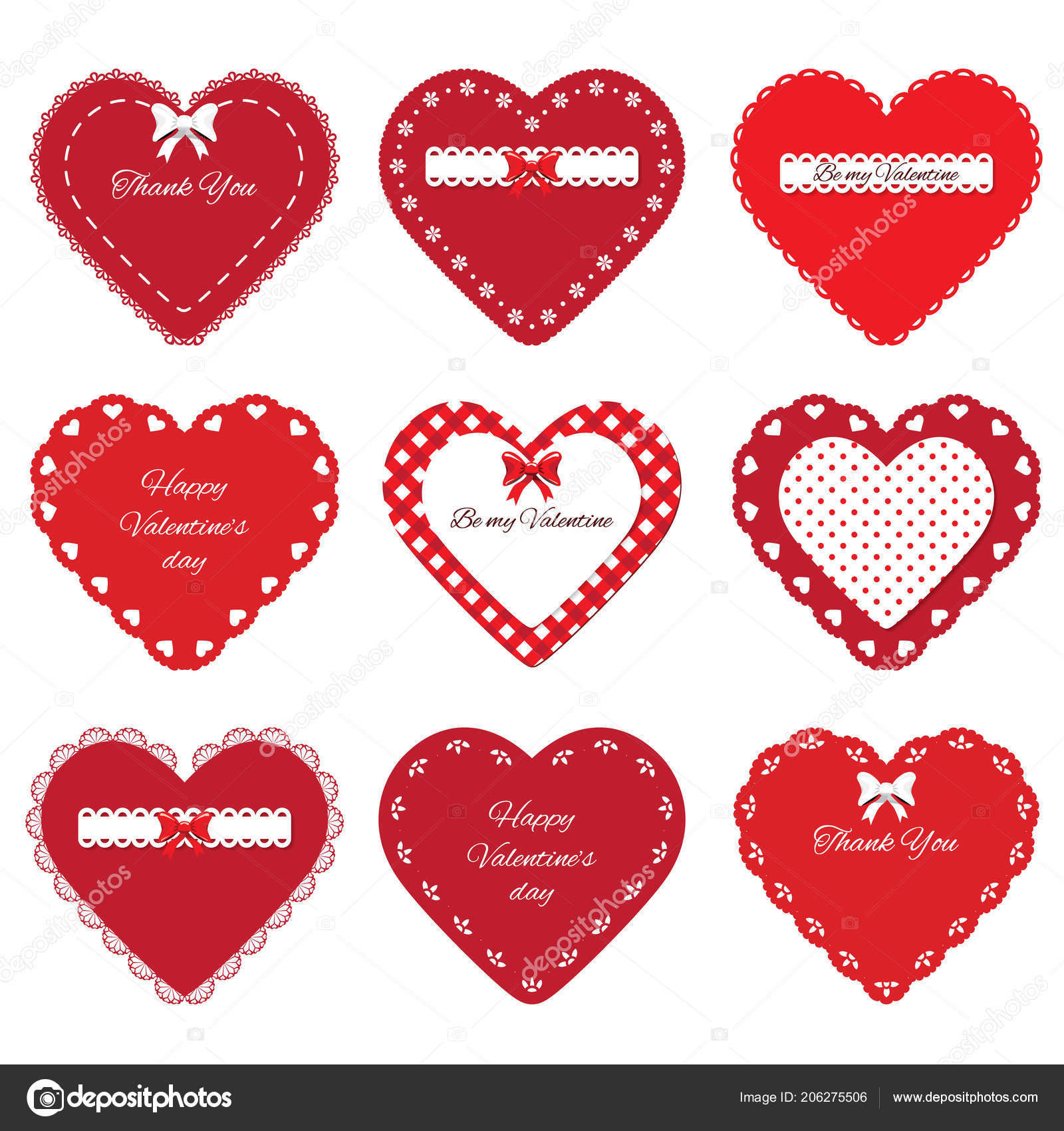 Valentines Day Stickers Decorative Cut Out Red Hearts Set