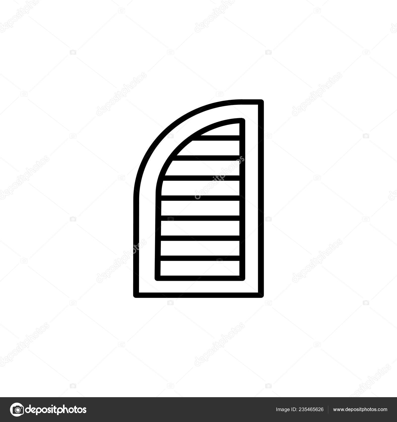 Black White Illustration Old Louver Arch Window Shutter