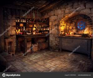 Medieval Fantasy Cgi Witch Cottage Candlelight Stock Photo © Ravven #230579434