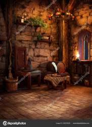 Medieval Fantasy Cgi Witch Cottage Candlelight Stock Photo © Ravven #230579446