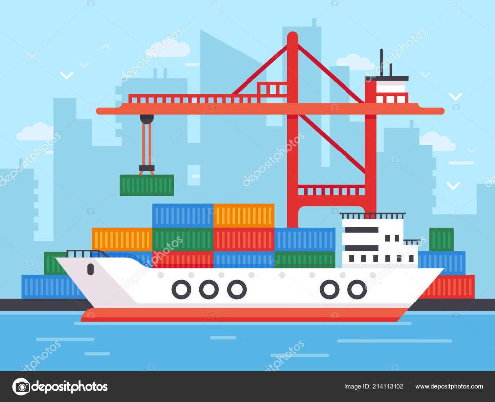 medium resolution of flat cargo ship in docks harbor crane of shipping port loading containers to marine freight
