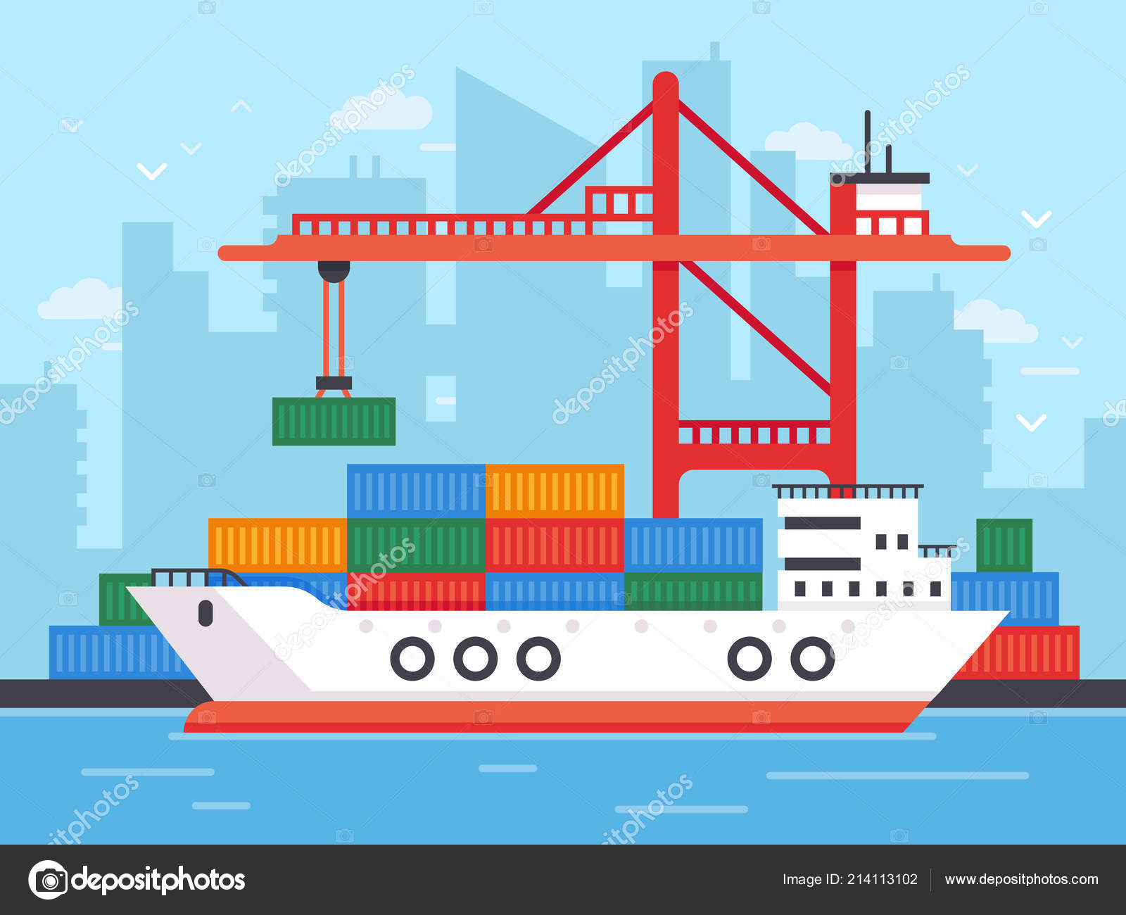 hight resolution of flat cargo ship in docks harbor crane of shipping port loading containers to marine freight