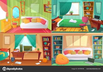 Pictures: messy bedrooms Teenagers bedroom Student cluttered room teenager college house apartment and home rooms furniture cartoon vector illustration Stock Vector © tartila stock gmail com #243799186