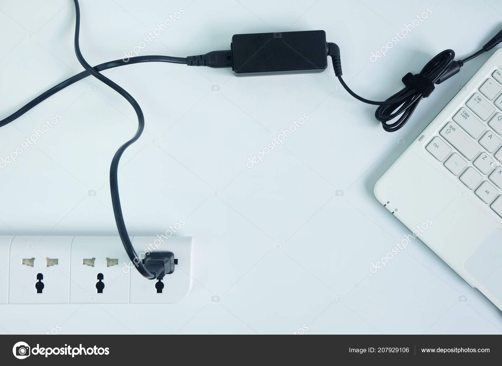 hight resolution of plug adapter power cord charger laptop computer white background topview stock photo