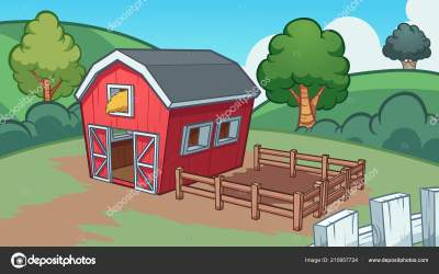 farm cartoon barn background vector clip illustration simple gradients separate layers elements memoangeles depositphotos