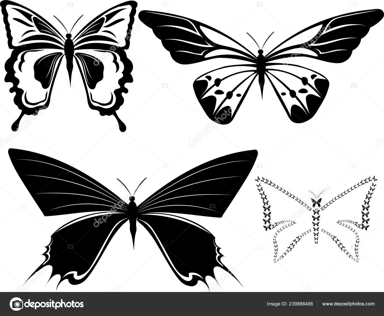 Tatuaje Mariposas Blanco Negro Papel Cortado Vector De Stock