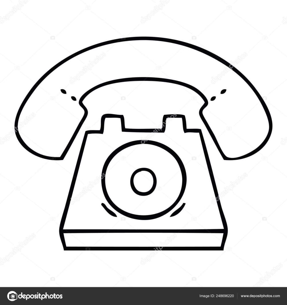 medium resolution of line drawing cartoon old telephone stock vector