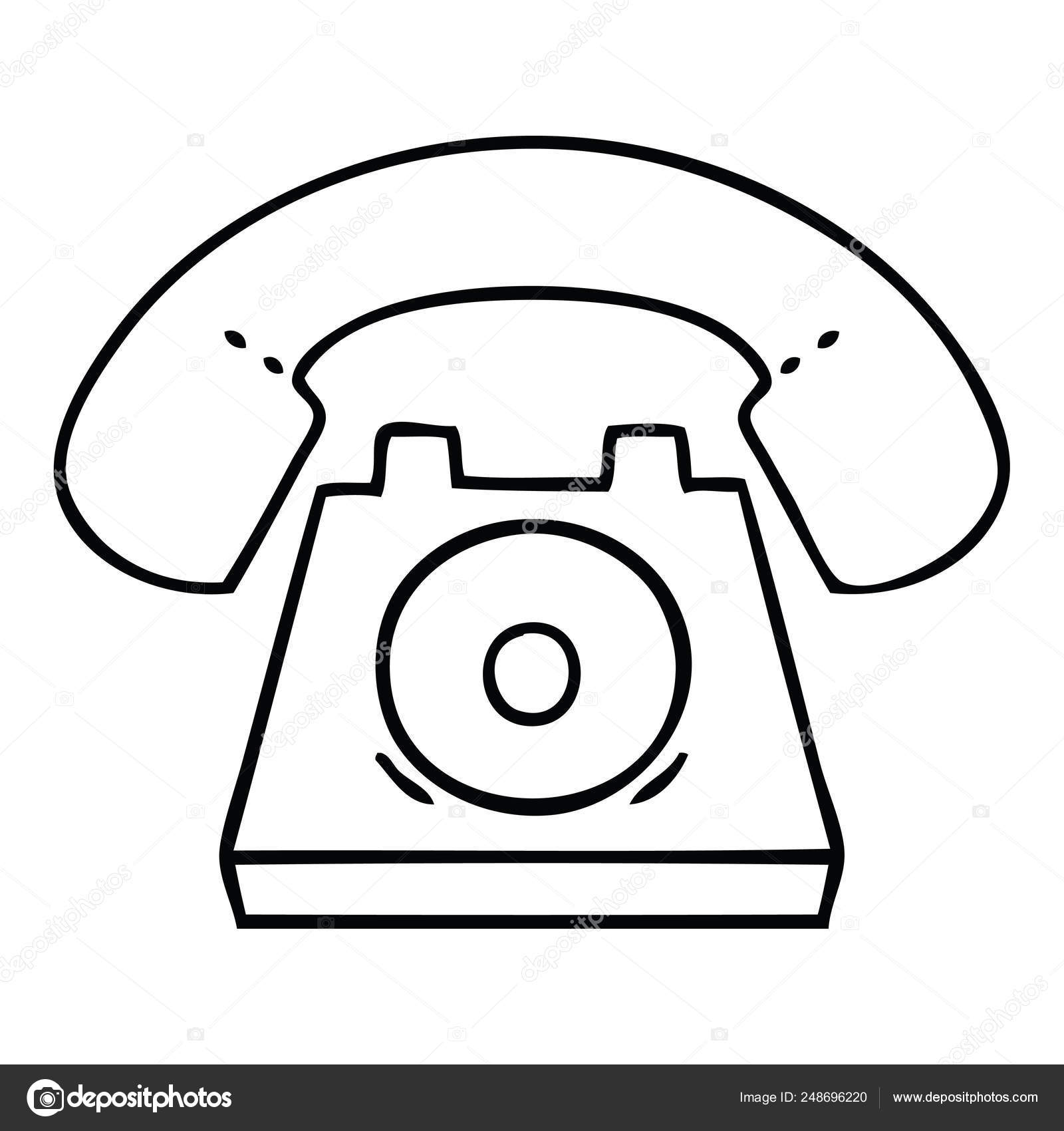 hight resolution of line drawing cartoon old telephone stock vector