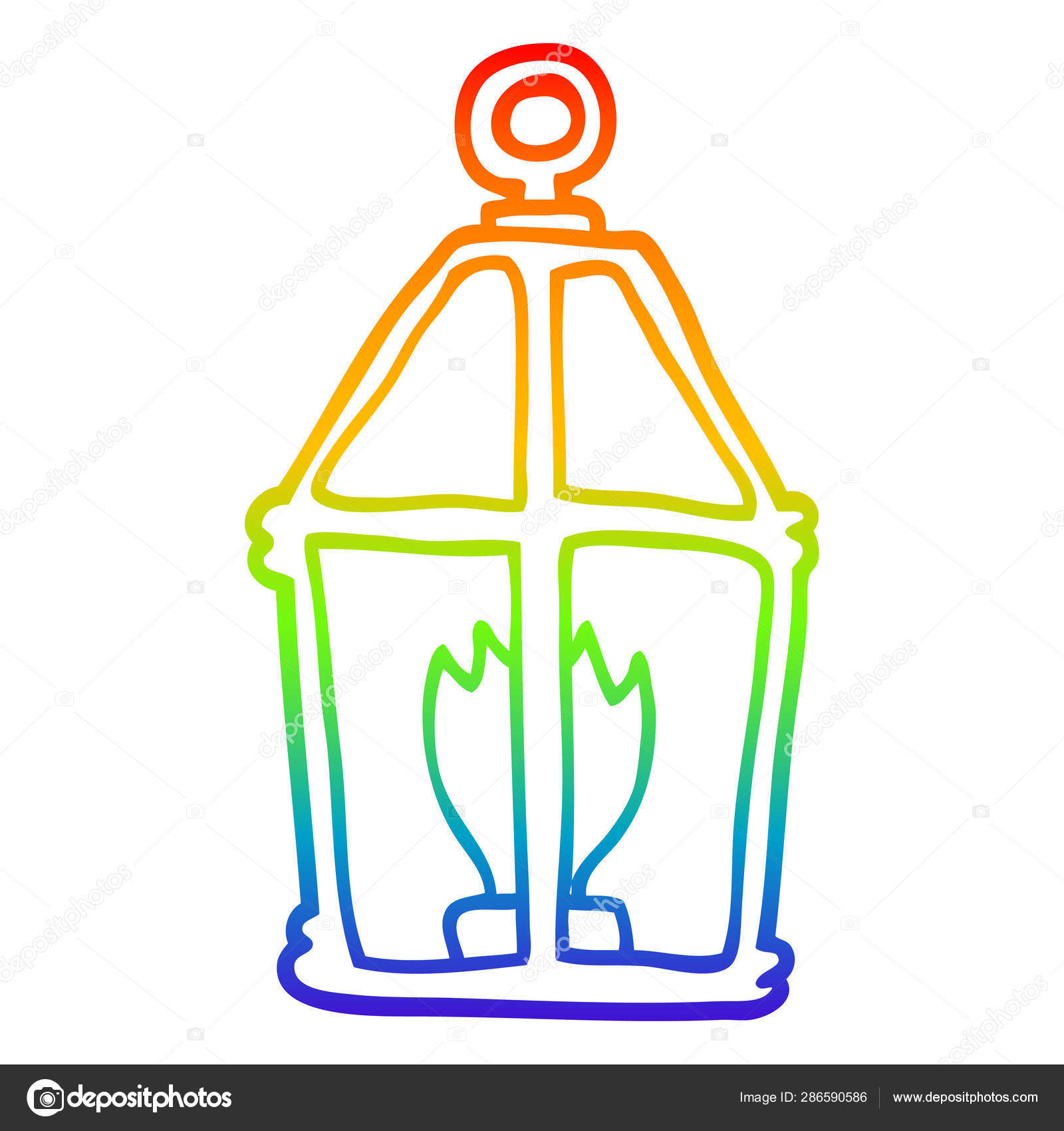 Rainbow Gradient Line Drawing Cartoon Old Lantern Stock Vector Lineartestpilot 286590586
