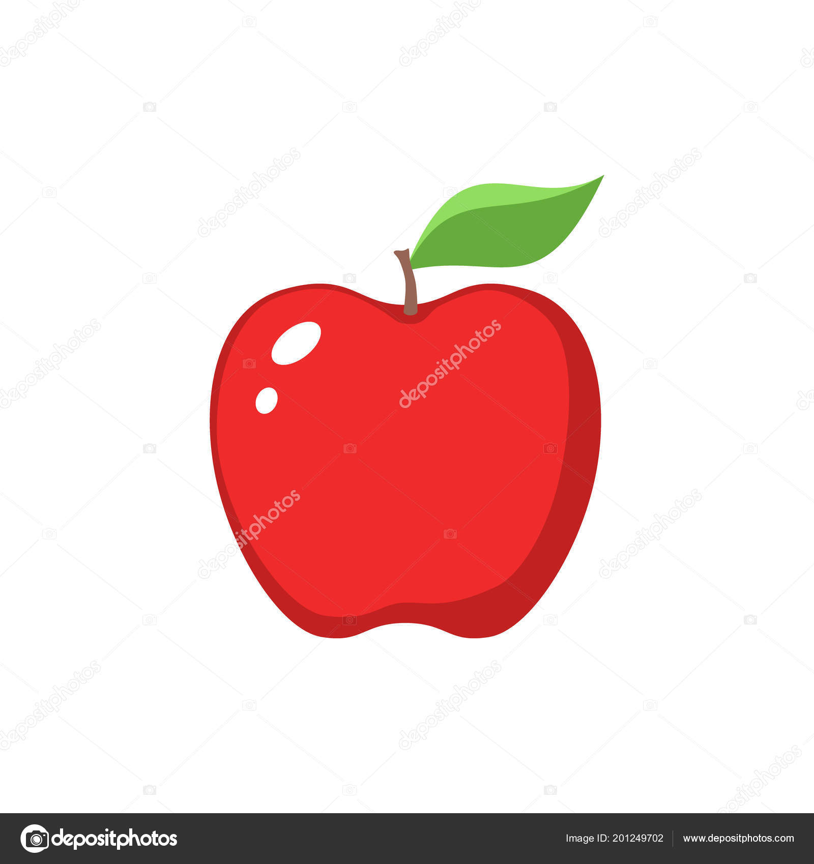 hight resolution of red apple clipart cartoon red apple leaf icon stock vector