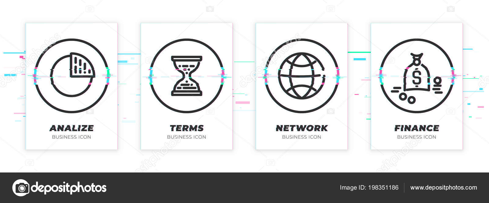 hight resolution of diagram sand clocks world money business theme glitched black icons stock vector