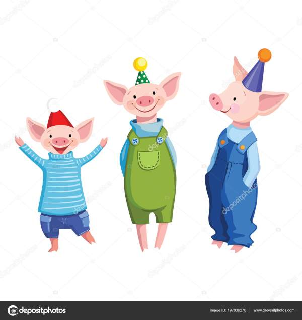 Three Friends Cute Cartoon Dressed Pigs Festive Caps