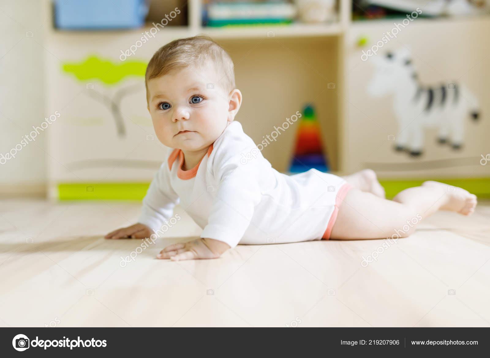 cute baby girl learning