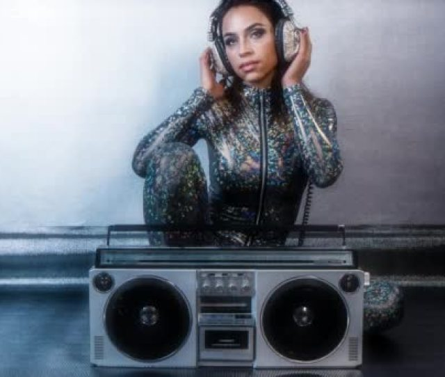 K Sexy Cool Woman Posing With A Vintage Ghetto Blaster Stock Footage