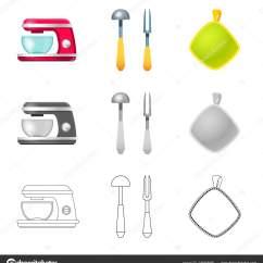 In Stock Kitchens Wood Toy Kitchen 厨房和厨师符号的孤立对象 网络厨房和家电库存符号集 图库矢量图像