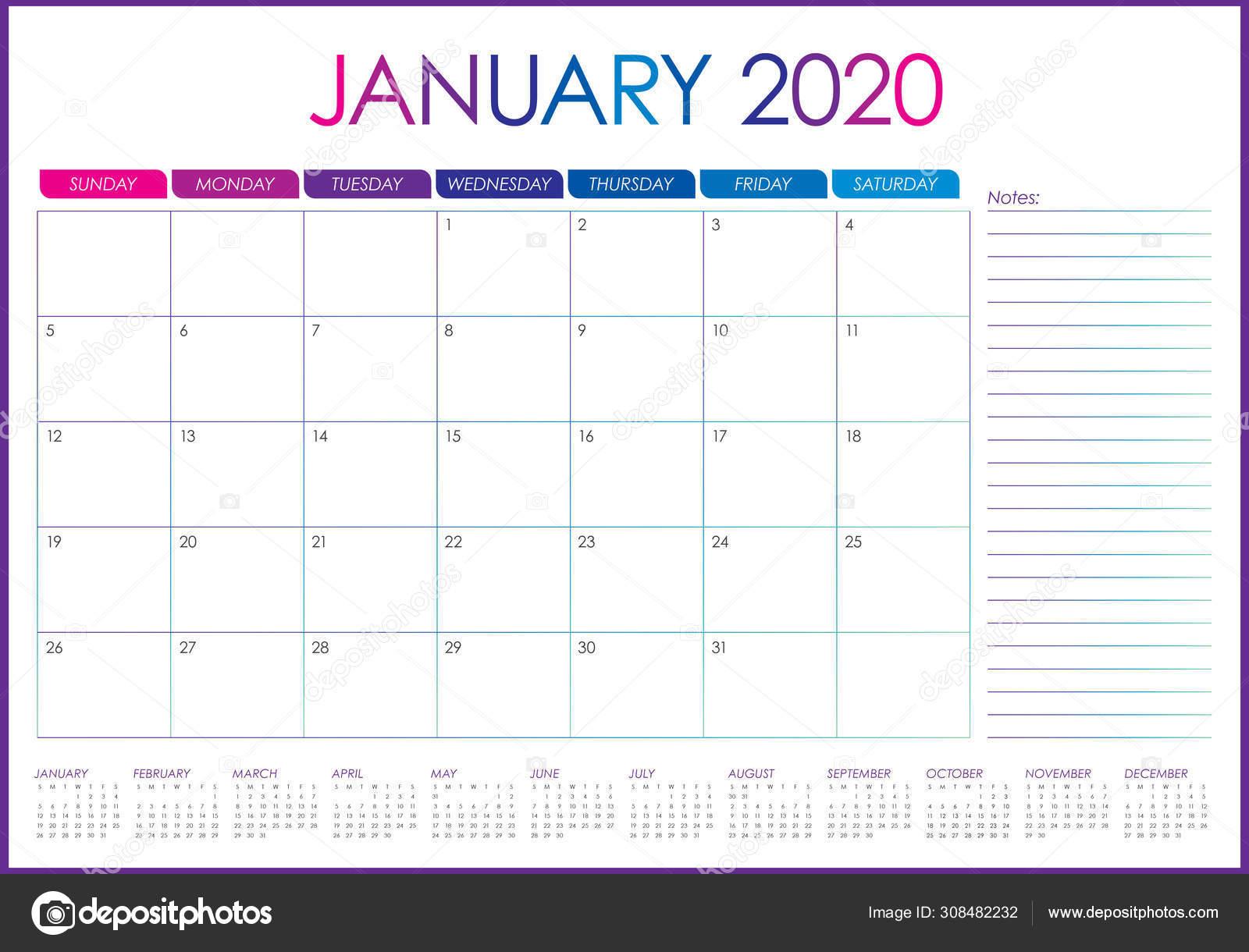 January 2020 desk calendar vector illustration — Stock Vector © dolphfynlow #308482232