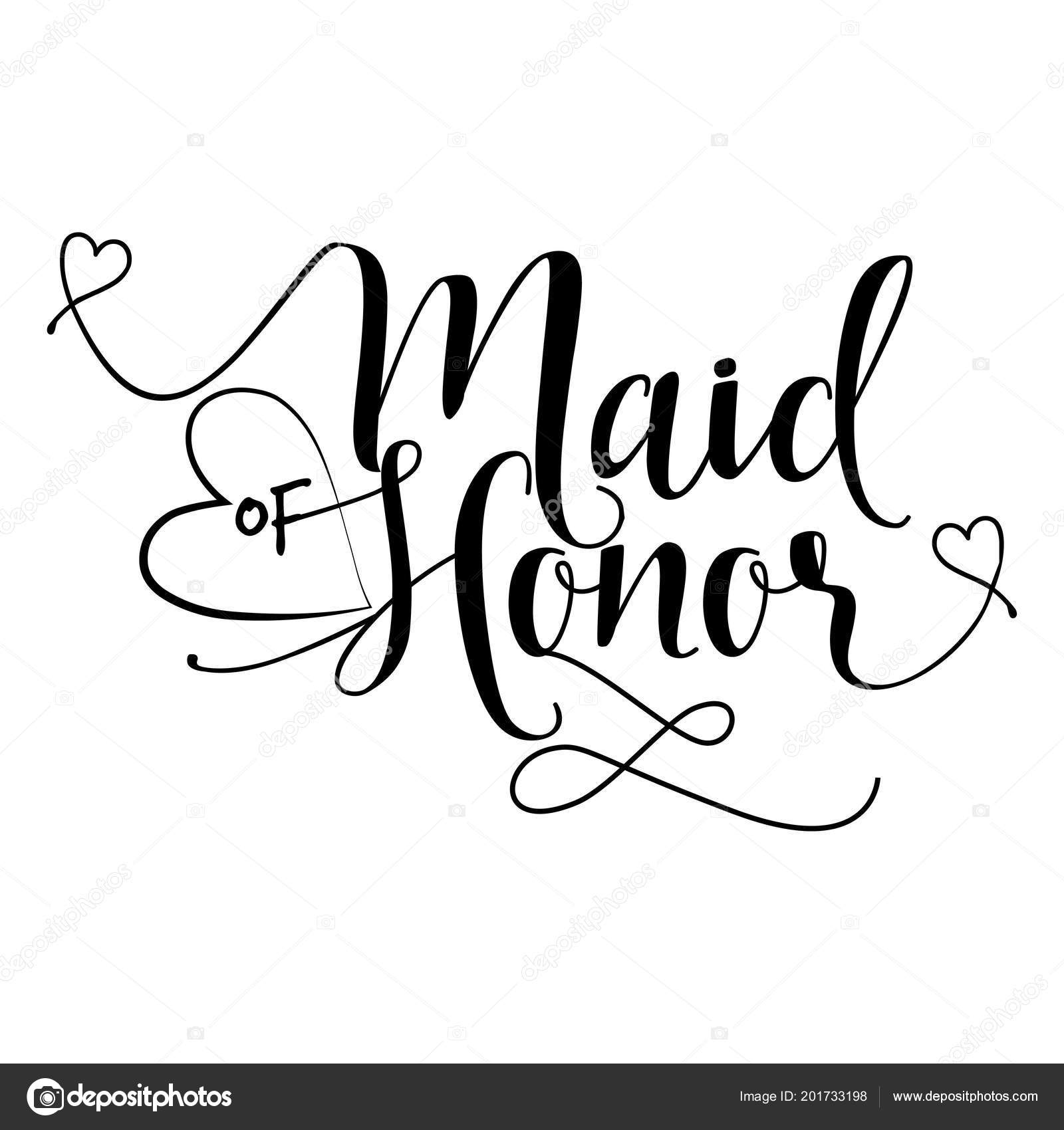 Maid Honor Hand Lettering Typography Text Vector Eps Hand