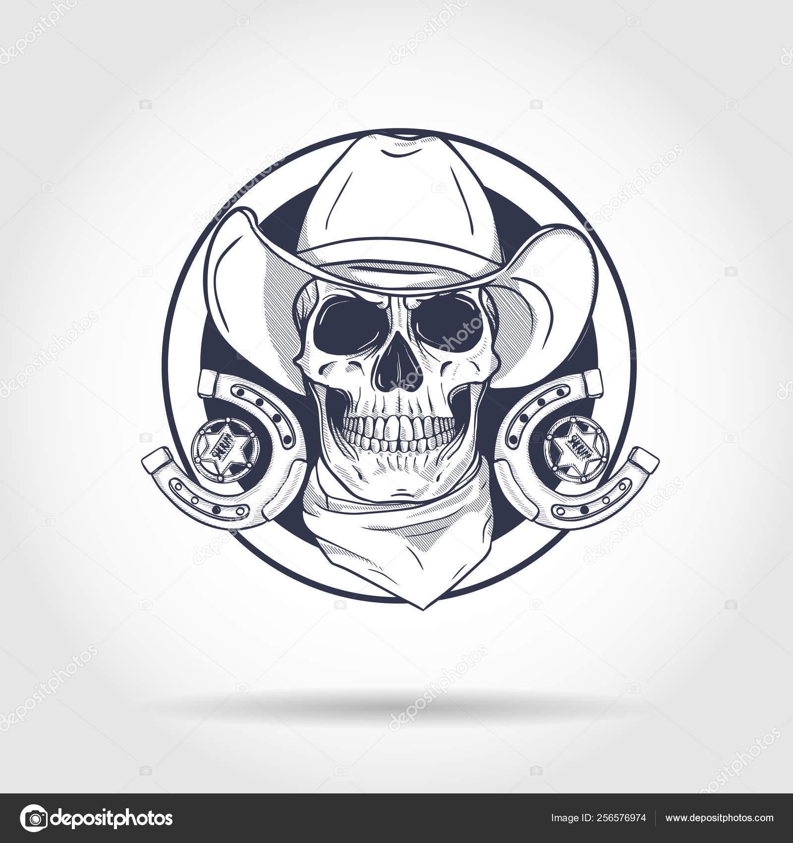 Bosquejo Cráneo Con Vaquero Vector De Stock Netkoff 256576974