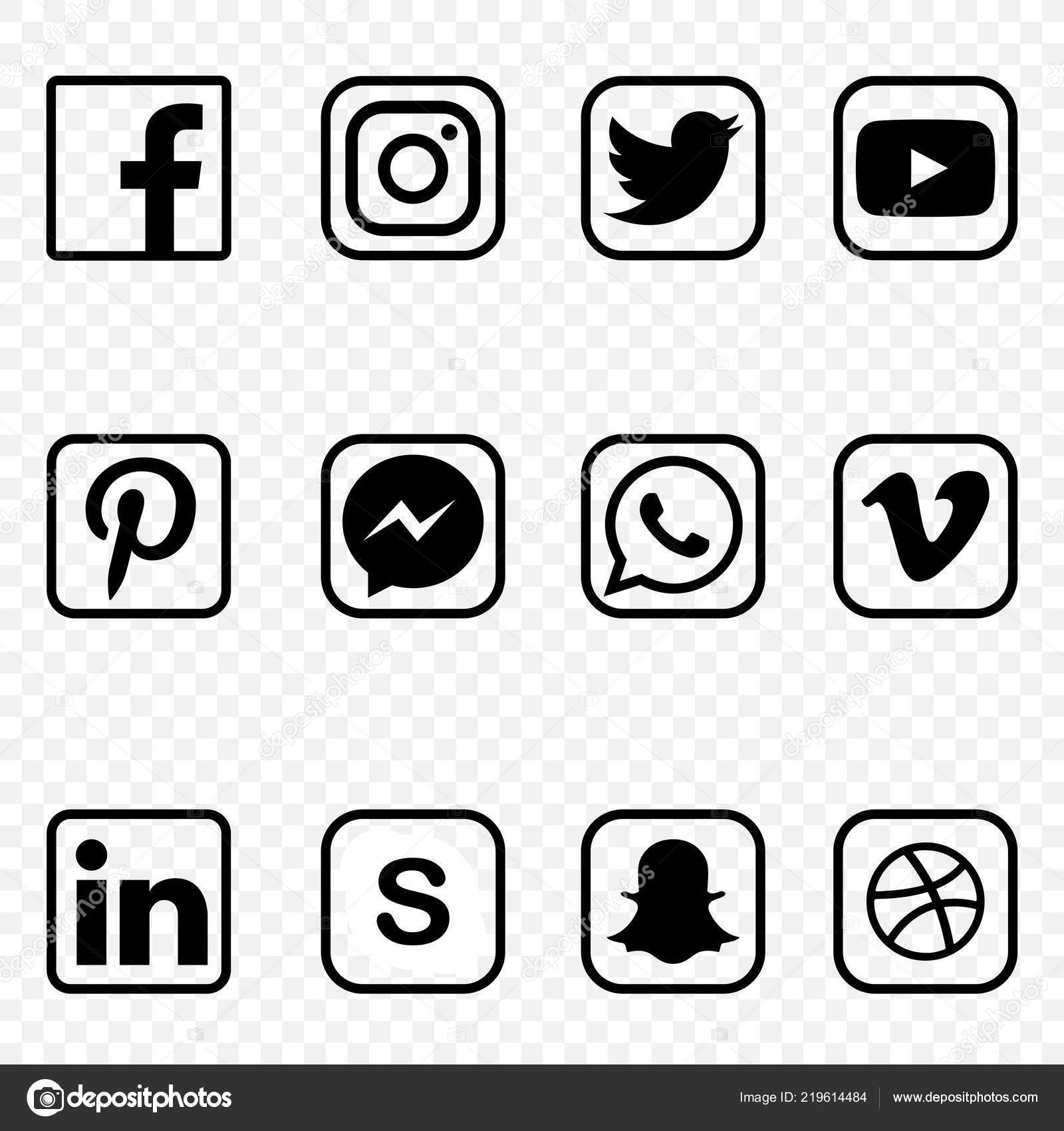 Black White Social Media Icons Transparent Background