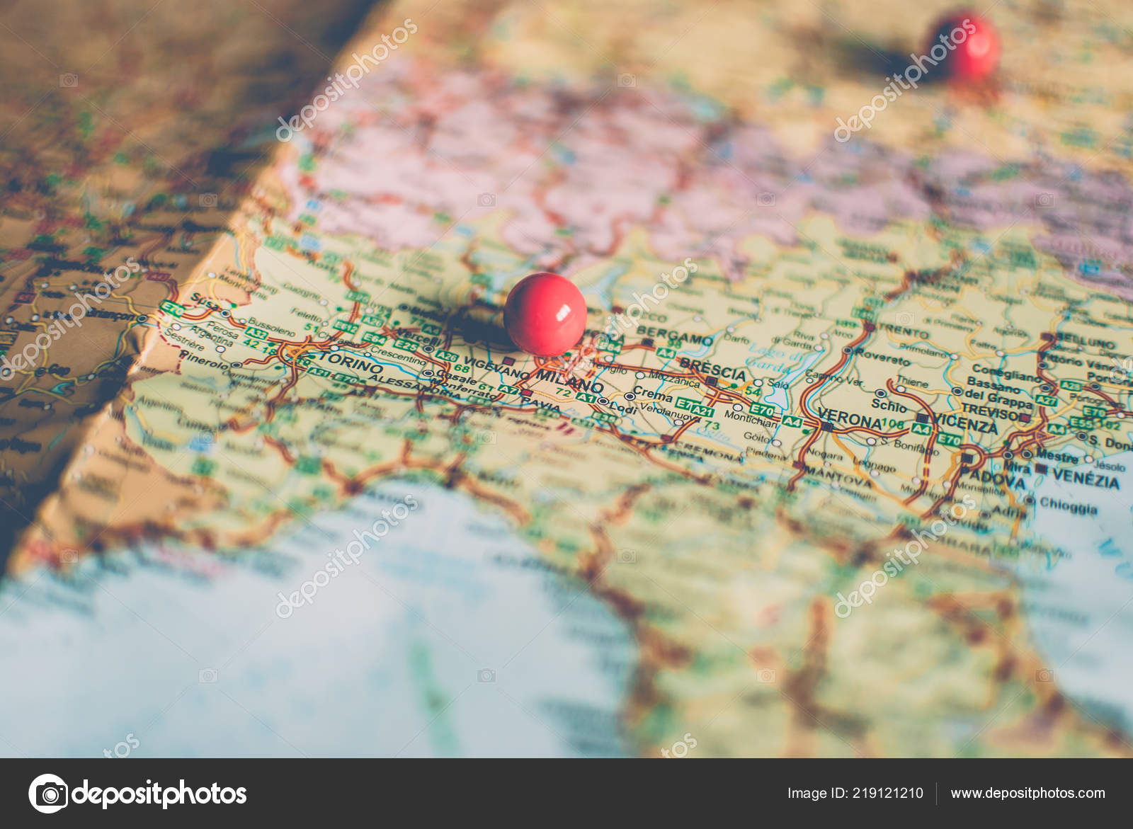 Closeup Traveler Road Map Vintage Retro Colors Countries Cities Western Stock Photo C Yurii Zymovin 219121210