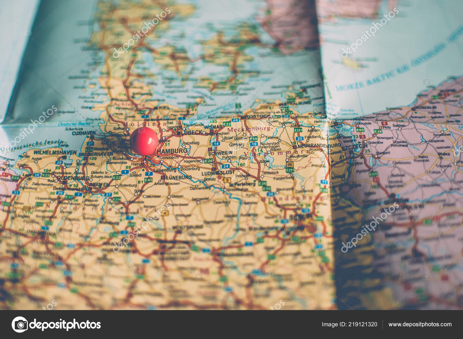 Closeup Traveler Road Map Vintage Retro Colors Countries Cities Western Stock Photo C Yurii Zymovin 219121320