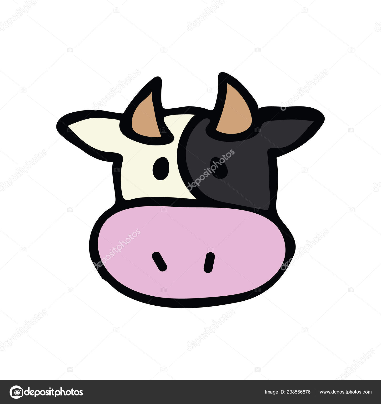 hight resolution of cute cow head icon vector illustration farm animal hand drawn for childrens clipart kawaii bovine bull drawing for dairy design