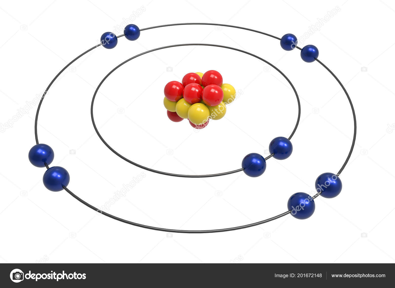 neon atom diagram 2002 pt cruiser wiring bohr model proton neutron electron science chemical concept stock photo