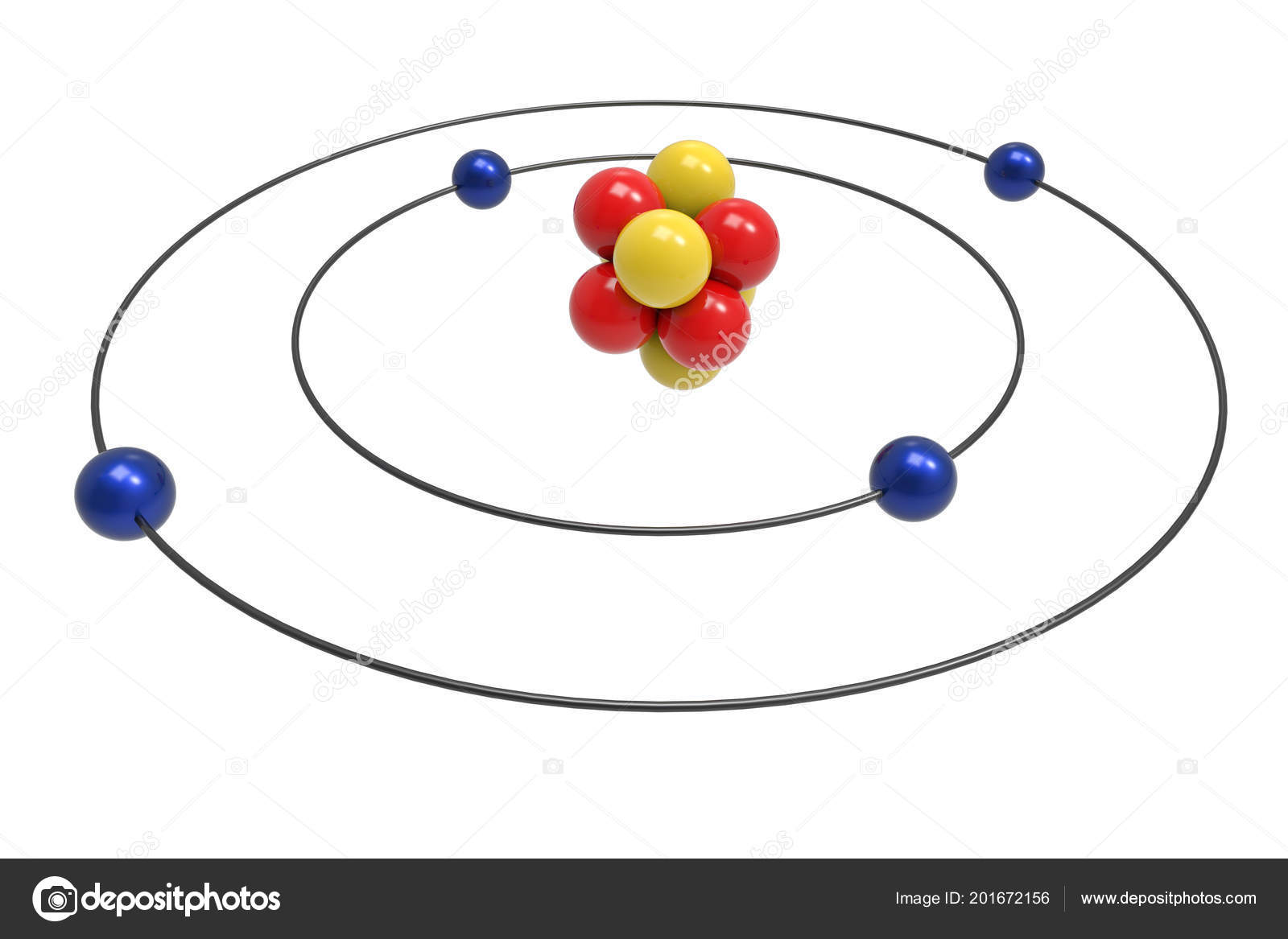 hight resolution of bohr model beryllium atom proton neutron electron science chemical concept stock photo