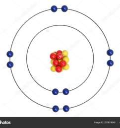 neon atom bohr model proton neutron electron illustration stock photo [ 1600 x 1167 Pixel ]